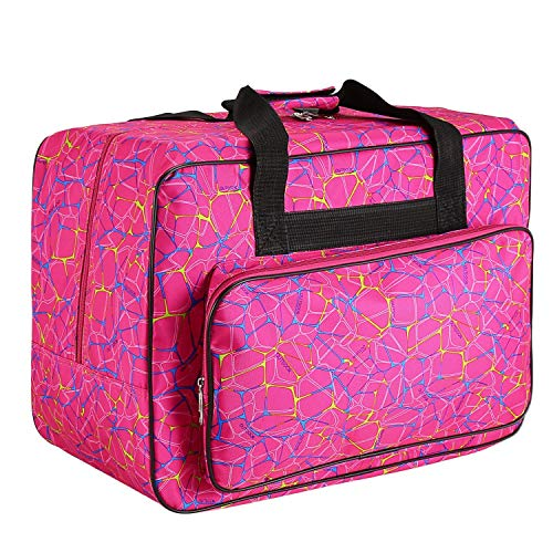 Sewing Machine Carrying Case Tote Bag,Padded Storage Cover Carrying Case with Pockets and Handles ,Canvas (Rose Red)