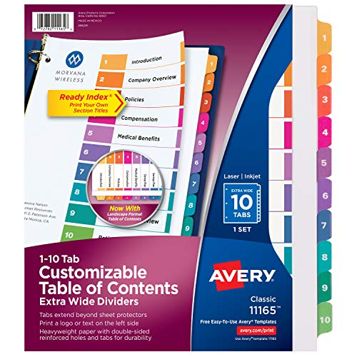 Avery 10-Tab Extra-Wide 3 Ring Binder Dividers, Customizable Table of Contents, Multicolor Tabs, 1 Set (11165)