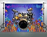 HD Music Backdrop Cotton Cloth Drum Set Symbol Colors Graffiti Photography Backgrounds Themed Party Photo Studio Props Banner Decoration 7x5ft LHFS351