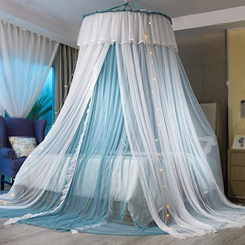 VARWANEO Princess Bed Canopy for Girls,Bed Canopy Curtain- Double Layer Sheer Mesh Dome Bed Curtain- Princess Mosquito Net for Twin Full Queen King Bed (Blue/White)