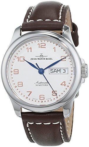 Zeno Watch Basel Pilot Basic 12836DD-f2 - Reloj Unisex automático, Correa de Piel Color marrón