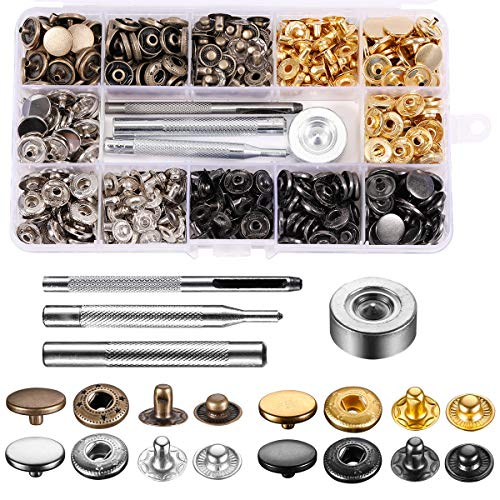 120 Sets Sewing Snaps, Leather Snap Fasteners Kit [12.5 mm Metal Button Snaps Press Studs with 4 Setter Tools] 4 Colors Clothing Snaps Kit for Clothing, Leather, Jeans Wears, Bracelets, Jacket, Bags