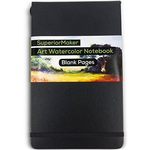 Watercolor Paint Sketchbook, Water and Dry Media Art Notepad, Heavyweight 220gsm Paper, No Bleed, Top Opening, 5' x 8.25', 100 Pages, Crafts, Materials, Black Hardcover Journal - SuperiorMaker