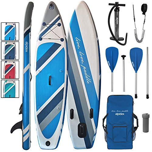 ALPIDEX Stand Up Paddle Set SUP 320 x 76 x 15 cm max.130 kg Aufblasbar Stabil Leicht Komplett Set Tragetasche Paddel Finnen Luftpumpe Leash Repair Kit, Farbe:Water