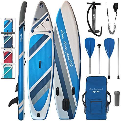ALPIDEX Tabla Hinchable Surf Stand Up Paddle Board 320 x 76 x 15 cm ISUP Peso Máximo 130 kg Sup Ligero Estable Juego Completo, Color:Water