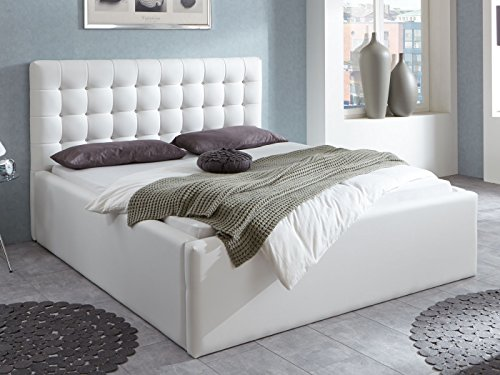 Luxus Polsterbett mit Bettkasten Selly mit Zirkonia Steinen XXL Kunslederbett Doppelbett Ehebett Weiß (180x200cm) - 4