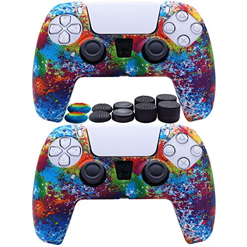 2pcs PS5 Controller Skin Silicone Soft Case for Sony Playstation 5 Cover Slim Shell Gel Rubber Protector with 10 Thumb Grip Caps (03)