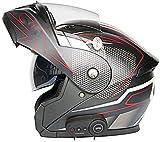 Caschi Bluetooth Per Moto, Casco Integrale Per Motocicletta Con Interfono Bluetooth, Casco Modulare Con Doppia Visiera, Standard DOT/ECE Per Uomo Donna 3, XL=(61~62CM)