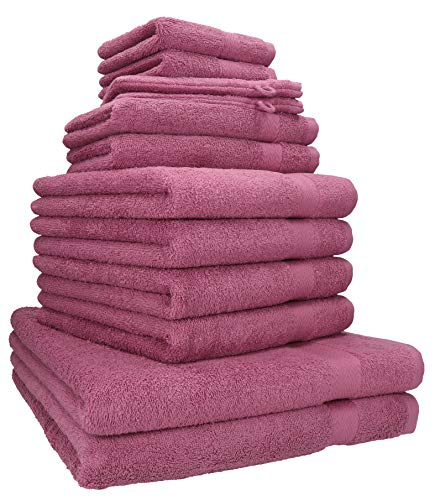 Betz 12-TLG. Handtuch-Set Premium 100% Baumwolle 2 Liegetücher 4 Handtücher 2 Gästetücher 2 Seiftücher 2 Waschhandschuhe Farbe Beere