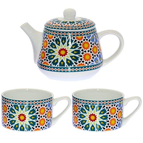 DONREGALOWEB Set de Tetera con 2 Tazas de Porcelana Decoradas Decoradas con mosaicos