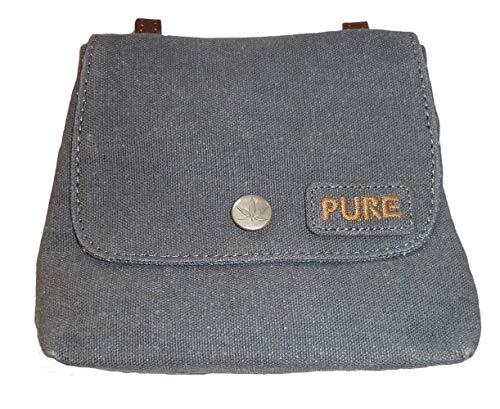 PURE HF-0025 Hanf Baumwolle kombinierte Schultertasche und Gürteltasche, H13 x B15,5 x T4,5, Grau