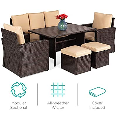 Best Choice Products 7-Seater Conversational Wicker Dining Table, Outdoor Patio Furniture Set w/Cover - Brown/Beige