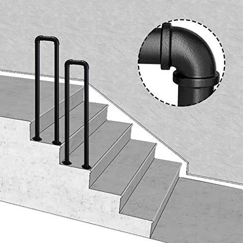 HT-Handlauf 2-Step Transitional Handlauf for Treppen, U-förmig Matte Black Geländer Schmiedeeisen Treppengeländer Mit Einbaukit Handschienen Innen- Und Außen for Treppen, Geländer, Balkon