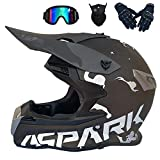 Motocicleta Casco Motocross Adulto Casco MTB Enduro/Gafas/Máscara/Guantes, Orejeras Desmontables, Casco Cross Off Road Integral para Scooter Descenso Racing Quad Downhill, 3 Estilos,Black,XXL