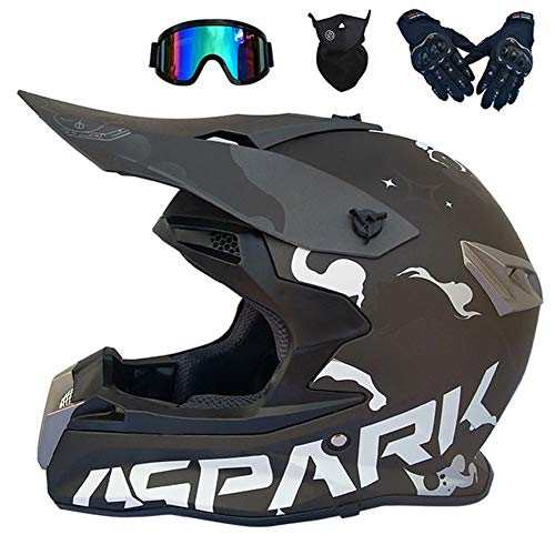 Motocicleta Casco Motocross Adulto Casco MTB Enduro/Gafas/Máscara/Guantes, Orejeras Desmontables, Casco Cross Off Road Integral para Scooter Descenso Racing Quad Downhill,...
