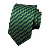 Sumferkyh Los Hombres Corbata Moda Casual Pequeño Corbata Novio Boda de Rayas Verde Edición Estrecha Fiesta de Bodas