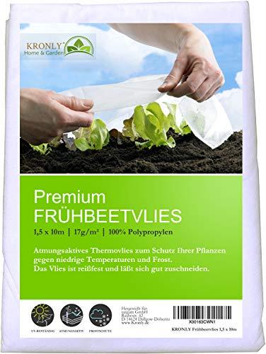 KRONLY Frühbeetvlies 1,5x10m - Gartenvlies wasserdurchlässig Atmungsaktives Schutzvlies Pflanzen, Frostschutz Winterschutz Hochbeet Garden Fleece