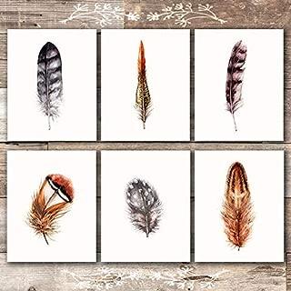 Feather Art Prints (Set of 6) - Unframed - 8x10s | Rustic Wall Art