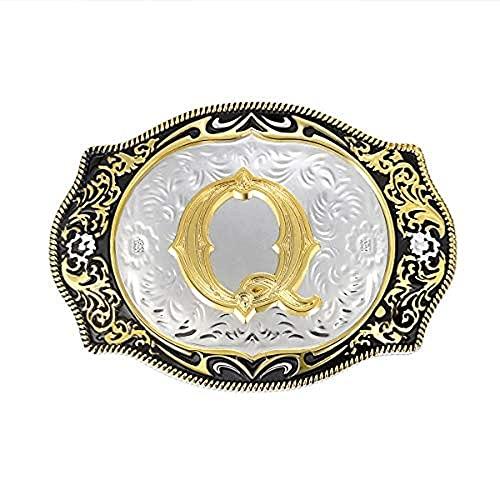 Lztly Corbata bolo Iniciales de la Hebilla del cinturón Occidental ABDMRJ A Z Rodeo Rodeo Rodeo PEQUEÑO HEJERO DE Cantel DE Oro Hombres Y Mujeres Vaquero Corbata (Color : Q)