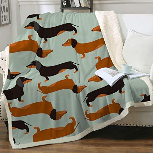 "Sleepwish Dachshund Sausage Blanket Throw Cute Doxie Blanket Blue Colorful Weiner Dog Fleece Blanket Kids Women Valentines Day Gifts for Him Cartoon Animal Sherpa Plush Blanket Green (50"" X 60"")"