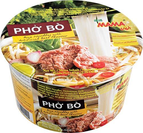 MAMA Instant-Bowl-Reisnudeln Pho Bo mit Rindfleischgeschmack – Instantnudelsuppe orientalischer Art – Enthält Gabel – Authentisch thailändisch kochen – 6 x 65 g
