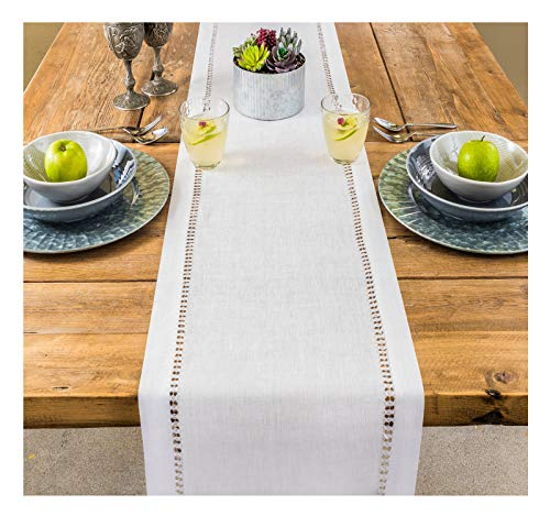PROVIMO HOME Linen Table Runner – 14 x 36 Inch, Hemstitched –100% Pure Linen Table Runner –Natural and Handcrafted from European Flax – White