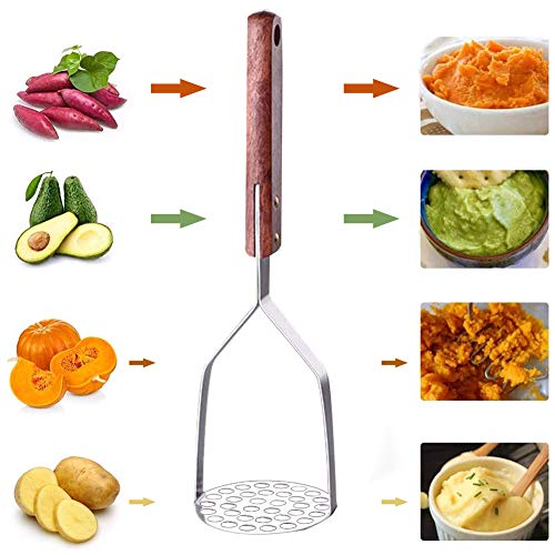 FRFJY Hochleistungs-Kartoffelstampfer aus Edelstahl mit Holzgriff für Kartoffelpüree Cremiges Kartoffelpüree Gemüse und Obst