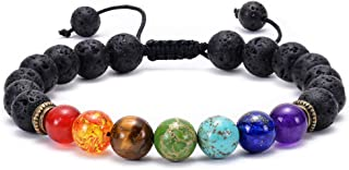 TASBERN Lava Rock Bracelet 7 Chakras Beaded Aromatherapy Essential Oil Diffuser Bracelet Natural Stone Yoga Beads Bracelet Adjustable