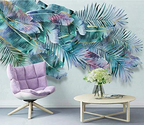 Murales de Pared Papel Pintado Hojas De Plantas Tropicales Fotomurales Dormitorio Sala de Estar Sofá Fondo de Pantalla Decoración de la Pared Murales,400x280cm