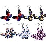 follwer0 Juego de 5 pares de pendientes de moda de piel sintética con diseño de mariposas, de acero inoxidable, para mujeres y madres