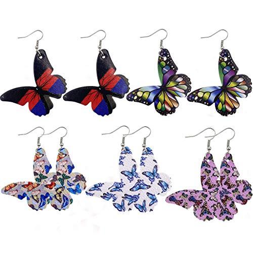 5 pares de pendientes de mariposa de piel sintética, kit de pendientes de mariposa de acero inoxidable, pendientes de mariposa para mujer, pendientes de tuerca para niñas