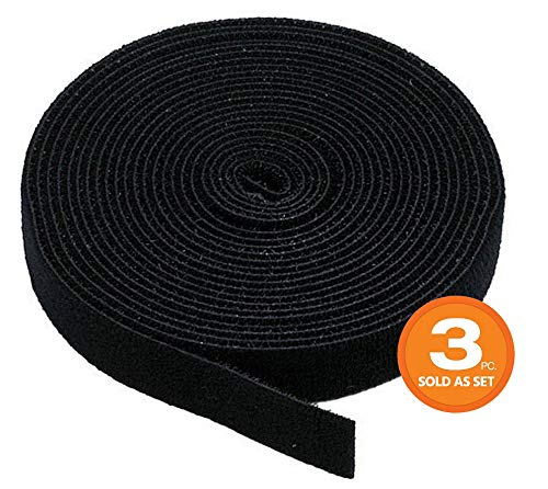 Monoprice 3-Pack Hook & Loop Fastening Tape 5 Yard/roll, 0.75-inch, Black-(121887), 3 Piece