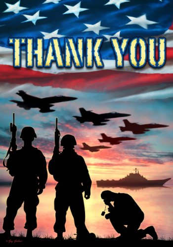 Custom Decor Thank You - USA Military Services - Garden Size Flag - 12 Inch X 18 Inch - Copyright and Trademarked - Printed in the USA