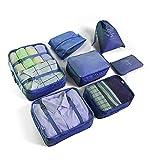 Juego de 7 cubos de embalaje para equipaje de viaje, bolsas de almacenamiento de viaje ligeras para ropa, organizadores...