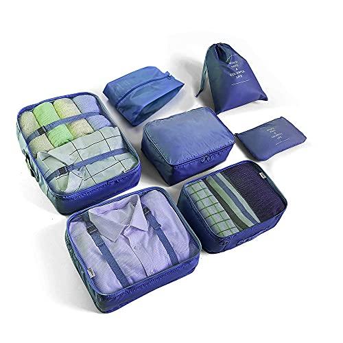 Juego de 7 cubos de embalaje para equipaje de viaje, bolsas de almacenamiento de viaje ligeras para ropa, organizadores de equipaje grandes cubos de embalaje para bolsa de viaje maleta