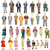 Gdaya 100PCs Tiny People Figures, 1:50 Scale Model Train People Hand Painted Model Trains Architectural O Scale Sitting and Standing Miniatures Figures for Miniature Scenes (100PCS)