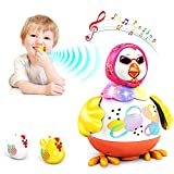 VATOS Baby Musical Toys - Dancing Hen with 2 Chicken Whistles   Baby Toy Interactive Learning Developmental Toy with Light & Sounds for 1-3 Years Old Toddlers Boys Girls