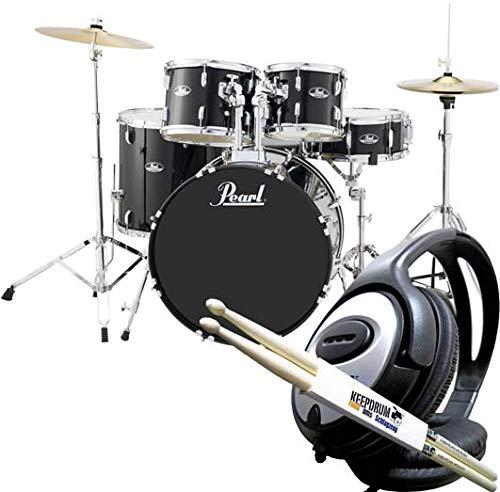 Pearl Roadshow RS525SC/C31 Jet Black Schlagzeug Drumset + keepdrum Drumsticks & Kopfhörer