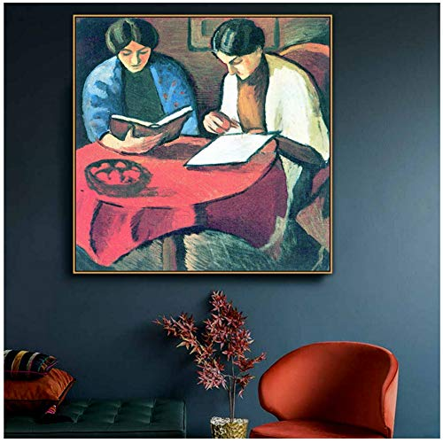 Yhyxll Two Women at The Table August Famous Old Artist Reproduction Oil Painting Canvas Print for Room Wall Decoration-50X50Cm No Frame