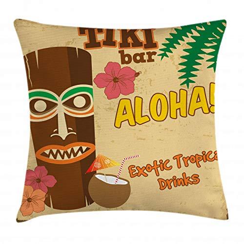 ABAKUHAUS Bar Tiki Funda para Almohada, Estatua Polinesia con Trago Tropical Tipografía Retro con Flores Diseño Antiguo, Decorativo, Estampado en Ambos Lados, 60 x 60 cm, Multicolor