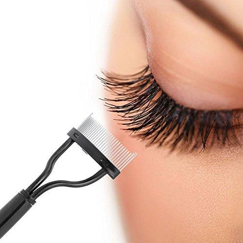 Wimperntrenner Wimpernkamm mit Edelstahl-Ende, Wimpernbürstchen mit Metall Kamm, löst Mascara-Klümpchen, ideal für Wimpernverlängerungen