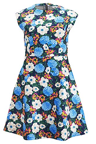 Carven Cap Sleeve Floral Fitted Flare Dress (Small)
