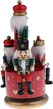 Fityle Retrô Madeira Quebra-Nozes Soldado Carrossel Caixa Musical Relógio Brinquedo Casa Desktop Festa Natal Decoração de ...