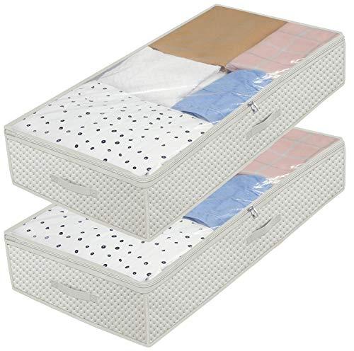 homyfort Set di 2 Pieghevole organizzatore Armadio, scatole Armadio in Tessuto, Contenitore per armadi, Sacchetto di Vestiti per la memorizzazione di Piumini Coperte 100 x 50 x 18 cm, Crema, X3MR100L