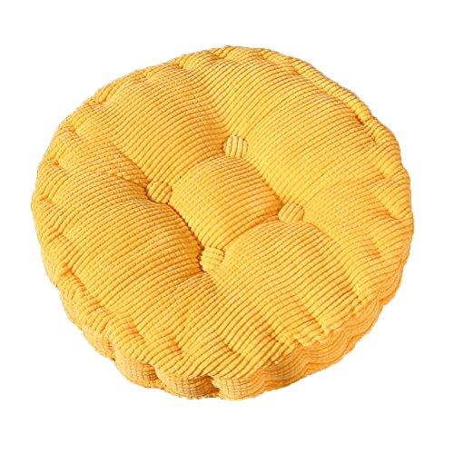 MSYOU - Cuscino per sedia morbido, rotondo, comodo, per casa, cucina, giardino, sala da pranzo, ufficio, 40 x 40 cm (giallo)