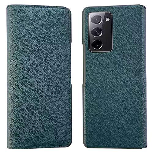 XJZ Compatible avec Samsung Galaxy Z Fold 2 5G Portables Coque(2020)+3D Protecteur D'écran en Verre Trempé/Housse Flip Cuir Coque Portefeuille Etui Stand Fentes Cartes Fermoir Magnétique Coque-Green