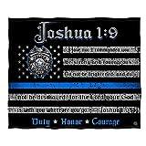 Erazor Bits Religious Police Blanket, Johsua 1:9 Thin Blue Line Throw Blanket, Religious Cover, Cozy Law Enforcement Bed Spread, FF2490 (50' x 60')