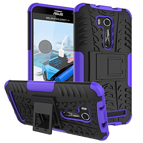 PAIPAIGUAN ASUS Zenfone Go ZB551KL(5.5 Zoll) hülle(Silikon Series) TPU + PC 2-in-1-Double-Layer-idealer Schutz,Stoßfest Handyhülle Drop Resistance Handys Schutz Hülle mit Ständer für-Violett
