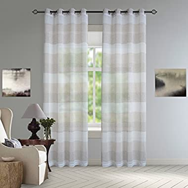 DEZENE Striped Sheer Curtains for Living Room - 2 Panels - Linen Look Grommet Window Draperies - 54 inches Width x 84 inches Long (Total 108  Wide) - Oliver, Tan and White