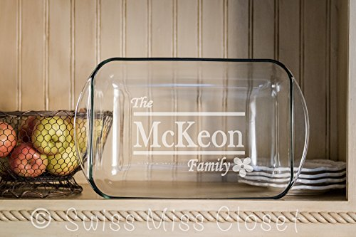 Personalized 9x13 inch 3 Quart Glass Baking Dish Custom Engraved MADE in the USA